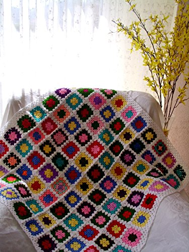 hand made baby blanket, granny square afghan blanket,handmade blanket, crochet blanket, crochet quilt, multicolor blanket by crochets4world