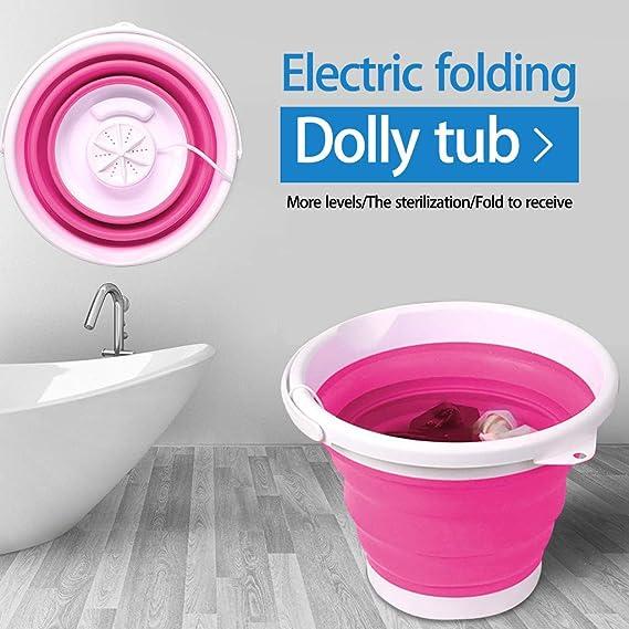 Upgrade Convenient Laundry Portable Mini Washing Machine Blue Foldable Ultrasonic Turbines Rotating Washer Travel USB Cable