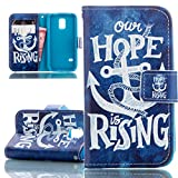 Galaxy S5 Mini Case, Ultra Slim Kickstand Stand Wallet Purse Credit Card ID Holders Magnetic Snap Closure Bumper PU Leather Cover for Samsung Galaxy S5 MINI-HOPE anchor blue