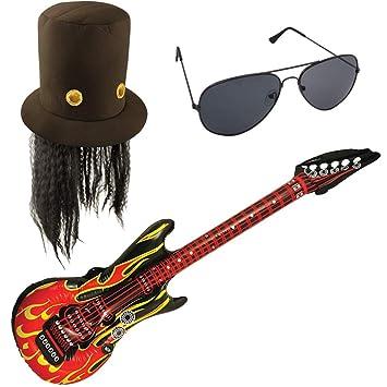 German Trendseller - Set de Disfraz de Guitarra (Disfraz de Rockstar, Sombrero de Rockstar