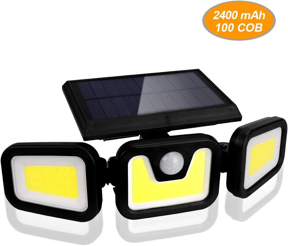 BLOOMWIN Luz Solar Exterior con Sensor de Movimiento Foco Solar Exterior 3 Cabezales 3 Modos 100 COB LED 360º lluminación Impermeable Aplique de Pared Lampara de Seguridad para Jardín Patio Camino