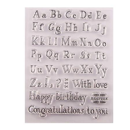 Exing Sellos Scrapbooking Clear Stamp, Feliz Cumpleaños ...