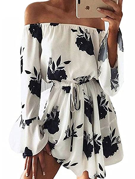663ab19208c Yobecho Women Summer Off Shoulder Strapless Floral Print Pleated Dresses(Fake  Seller yujinxiu)