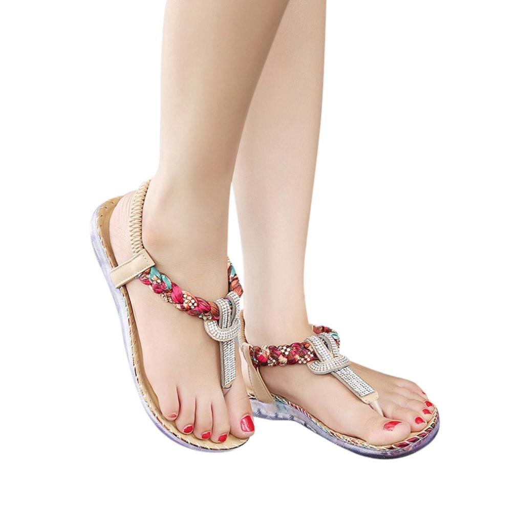 Hemlock Women's Summer Bohemia Beach Sandals Big Size Sandals (US:7.5, Khaki)