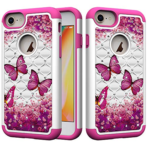 iPhone 8 Plus Case, iPhone 7 Plus Case, iPhone 6 Plus/6s Plus Case, UZER Dual Layer Shockproof Glitter Sparkle 3D Diamond Bling Rhinestone Painted Series Case for iPhone 8 Plus/7 Plus/6S Plus/6 Plus