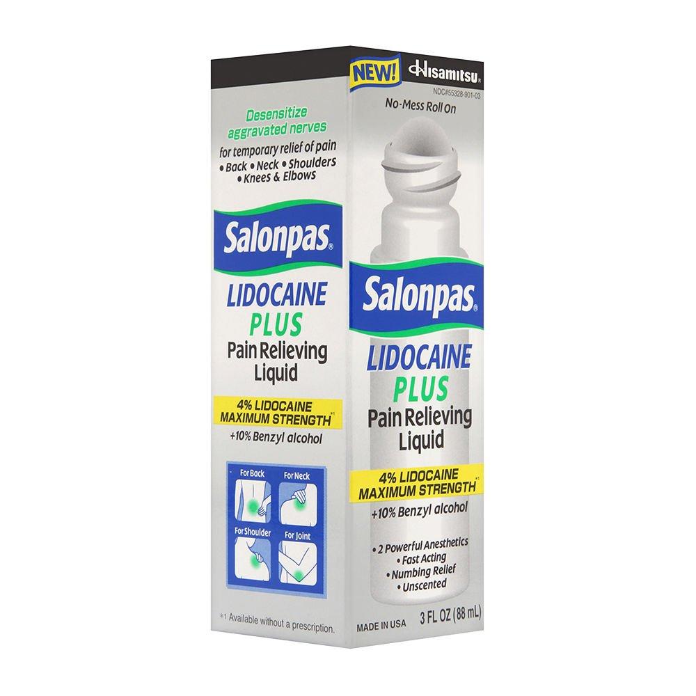 Salonpas lidocaine plus 3 oz roll on pain relieving liquid 4% lidocaine