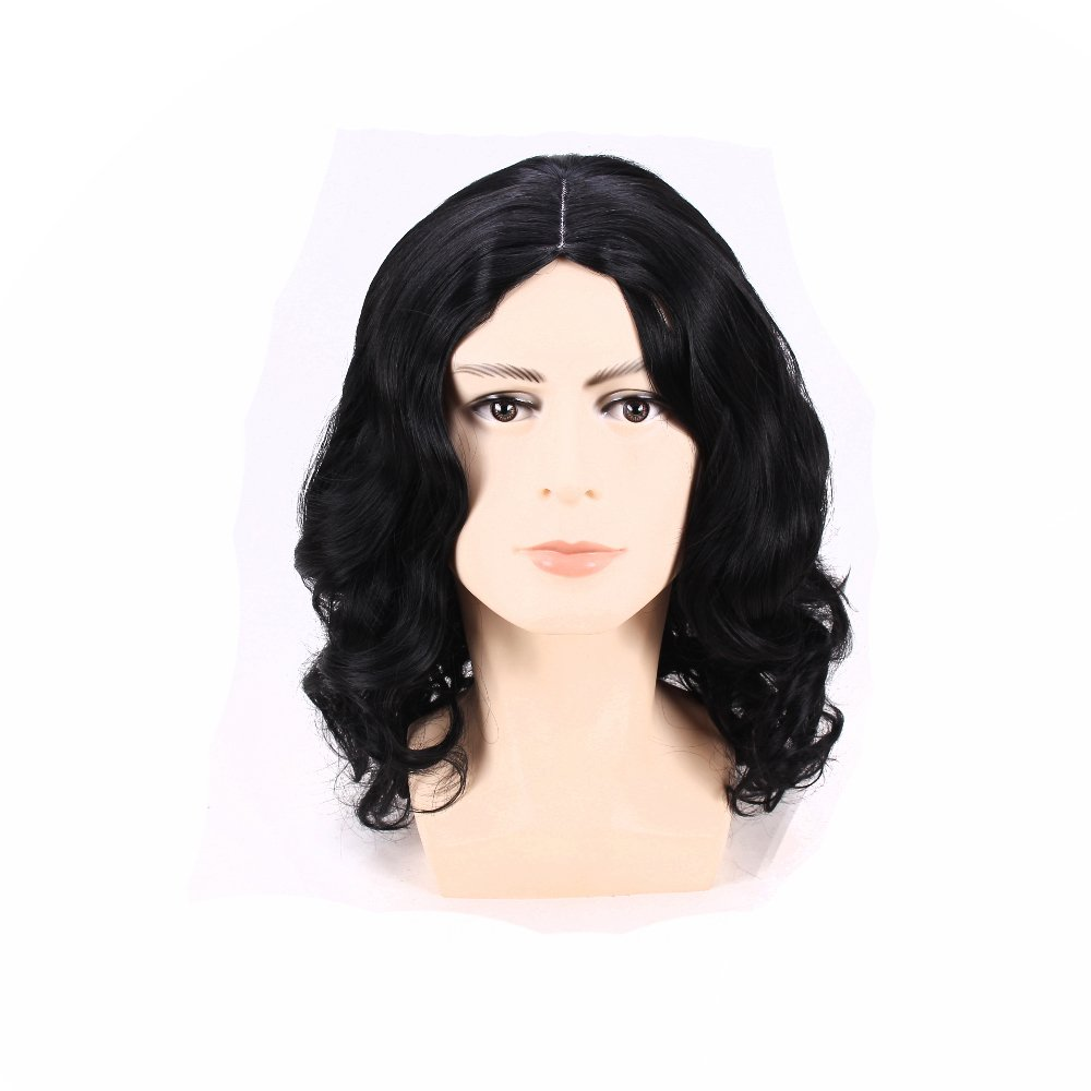 BoMing Man's Short Curly Black Cosplay Wig Costume Wig