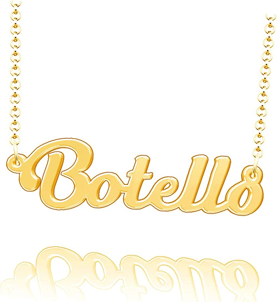 LoEnMe Jewelry Customized Botello Name Necklace Sterling Silver Plated Custom Made of Last Name Gift for Family