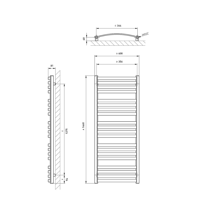 Gr/ö/ße: 50x146cm Seitenanschluss Gebogen AQUABAD/® Badheizk/örper//Paneelheizk/örper Sirius Typ: Wei/ß