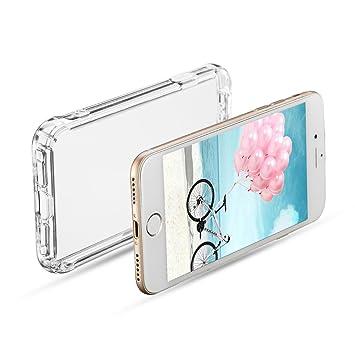 Funda para iPhone 7 Transparente,TPU Carcasa,Caso Anti-Amalillas,Arañazas,Golpes,Polvo,Case Suave Silicona Pantalla Protector