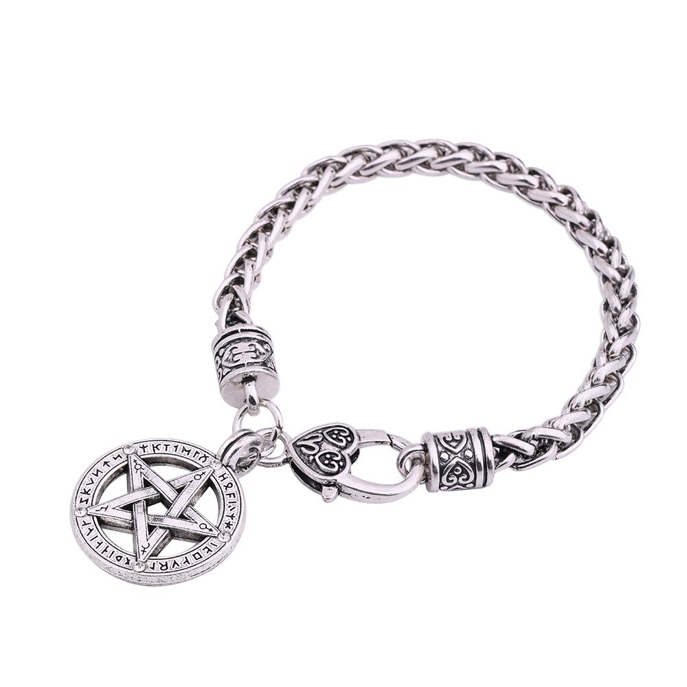 Wicca Nordic Viking Talisman Amulet Runes Pentagram Pendant Bracelet Jewelry Gift YI WU KE JI