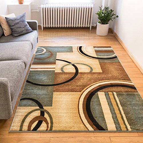 living room furniture amazon.  Rug 8x10 8x11 7 10 x 9 Easy to Clean Stain Fade Resistant Shed Free Abstract Contemporary Color Block Boxes Lines Soft Living Dining Room Furniture Amazon com