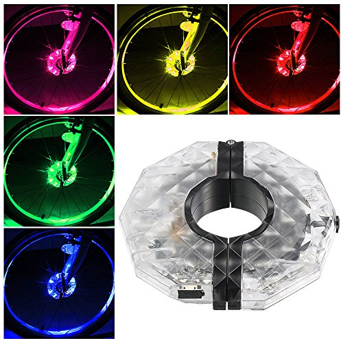 Rechargeable Bike Wheel Hub Lights, Alritz Waterproof 3 Modes LED Cycling Lights, RGB Colorful Bicycle Spoke Lights for Safety Warning and Decoration