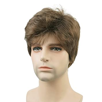 Amazon.com   Lydell Men Wig Natural Short Straight Hair Synthetic Full Wigs  ( 10 Medium ash brown)   Beauty 0e9bb7a27d31