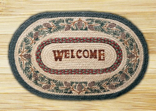 Earth Rugs OP-081 Pinecone Welcome Design Rug, 20x30, Burgundy/Black/Sage