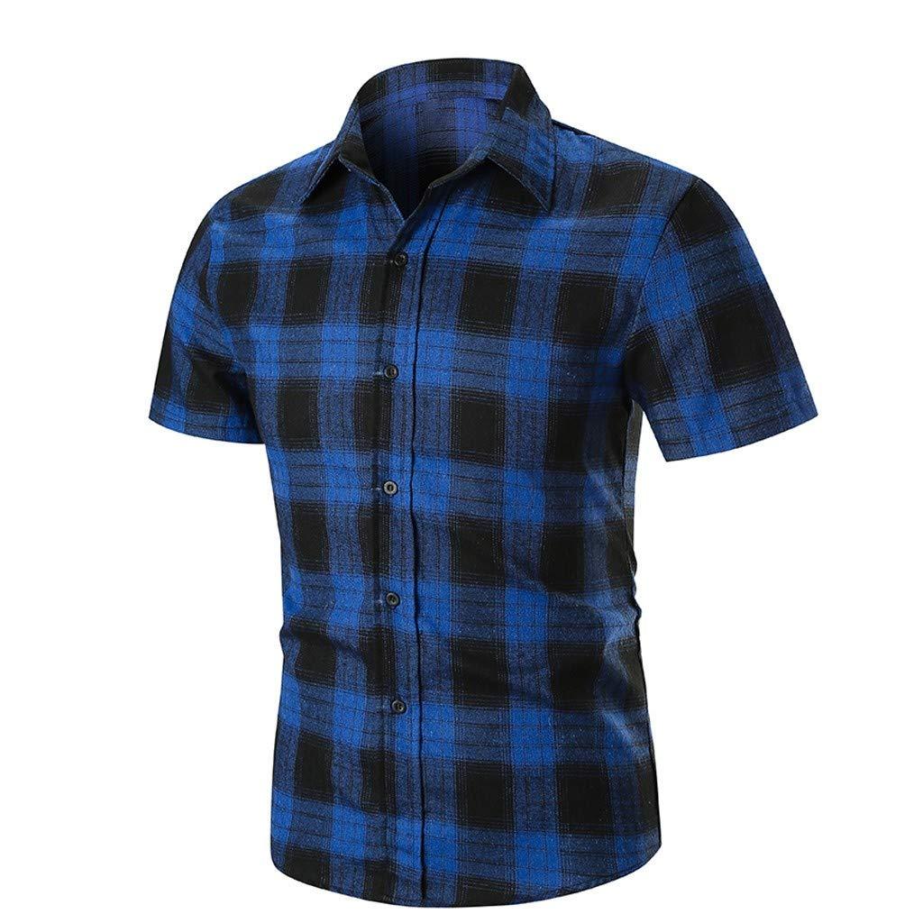 Beautyfine Mens Plaid Stripe Short Sleeve Shirt