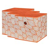 SbS Collapsible Foldable Fabric Storage Boxes, Cubes, Bins, Baskets. Orange Leaf pattern (3 Pack). Each Storage Bin Measures 11 inches on all sides