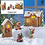 Woodland Cabin Moose Christmas Village Set