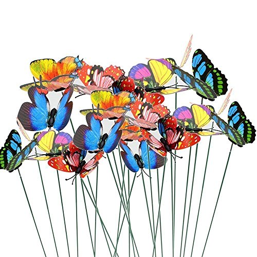 VIMOA Decorative Garden Butterfly Stakes 30pcs Butterfly Stakes Waterproof Butterfly Decor Garden for Flower Beds Plant…