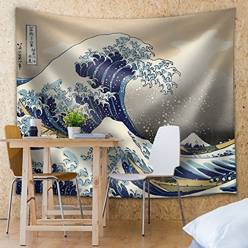 Wall26® - Katsushika Hokusai - The Great Wave off Kanagawa - Thirty-six Views of Mount Fuji - Fabric Tapestry, Home Decor - 51x60 inches