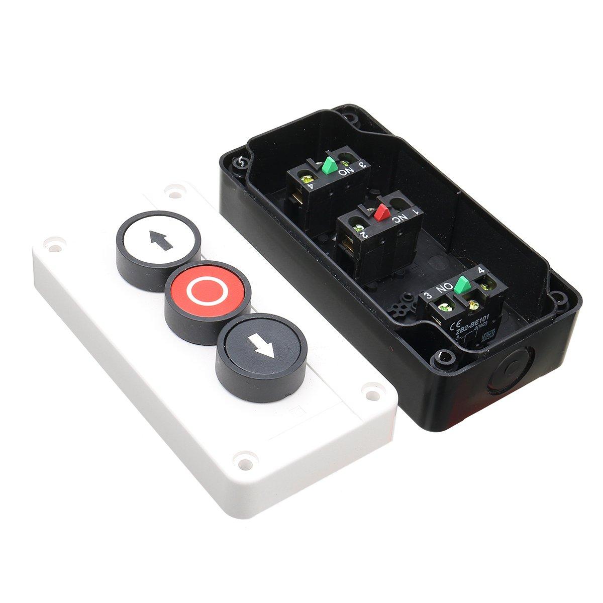 MASUNN Push Button Station Up Down Arrows with Stop Button Hoist Roller Shutter Door