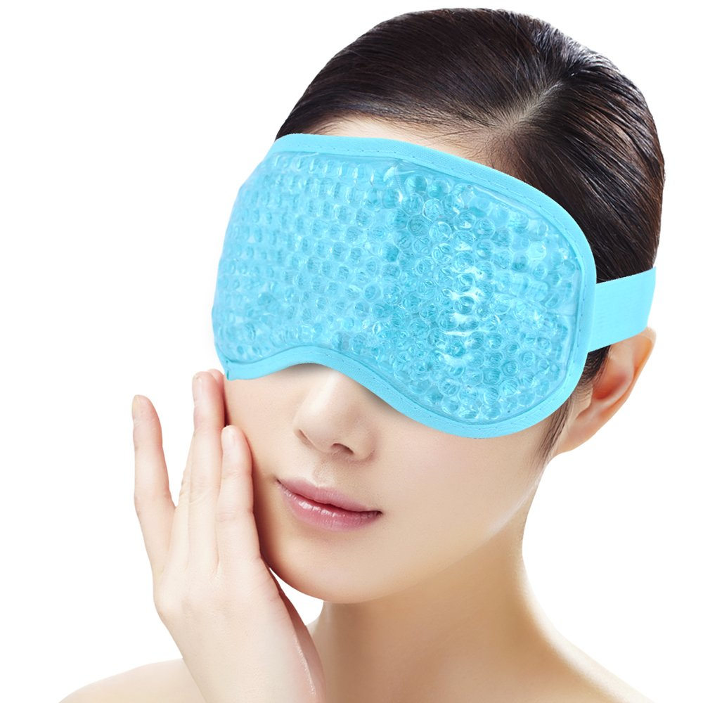 Ice Face/Eye Mask for Woman Man, Hot/Cold Reusable Gel Beads ice Pack with Soft Plush Backing,Hot Cold Therapy for Facial Pain,sleeping,Swelling,Migraines, Headaches,Stress Relief[Blue] YunQiXin