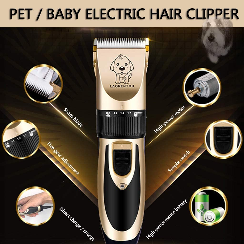 Eternali Pet Hair Remover Dog Grooming Clippers for Pets Cat Hair Trimmer Kit Cordless Dog Clippers Low Noise Professional Hair Clipper Set with Comb Accessories Quiet Rechargeable Shaving Tool