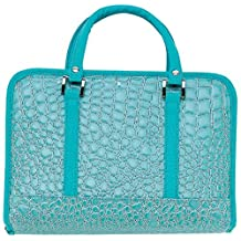 Turquoise Faux Alligator Bible Cover Protective Ladies Holy Book Tote Carry Case
