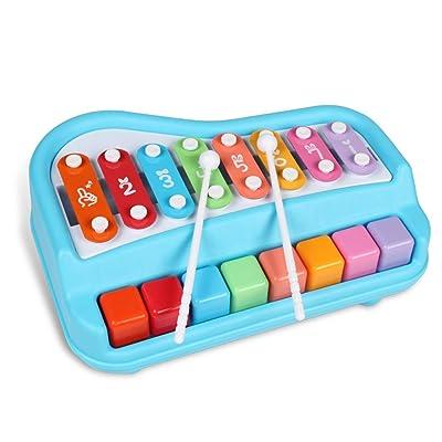 FLYSXP Los niños bebés baten los Juguetes Musicales Reproductor de Ocho Tonos percusión Piano Rompecabezas educación temprana Tocando Instrumentos Musicales 1-3 años Piano para bebés Piano para niños: Hogar