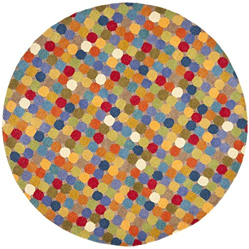Safavieh Soho Collection SOH922A Handmade Abstract Polka Dot Multicolored Premium Wool Round Area Rug (8' -