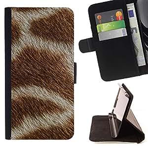 """Patrón Blanco Marrón África Animal"""" - Modelo colorido cuero de la carpeta del tirón del caso cubierta piel Holster Funda protecció Para Sony Xperia M5 E5603 E5606 E5653"""