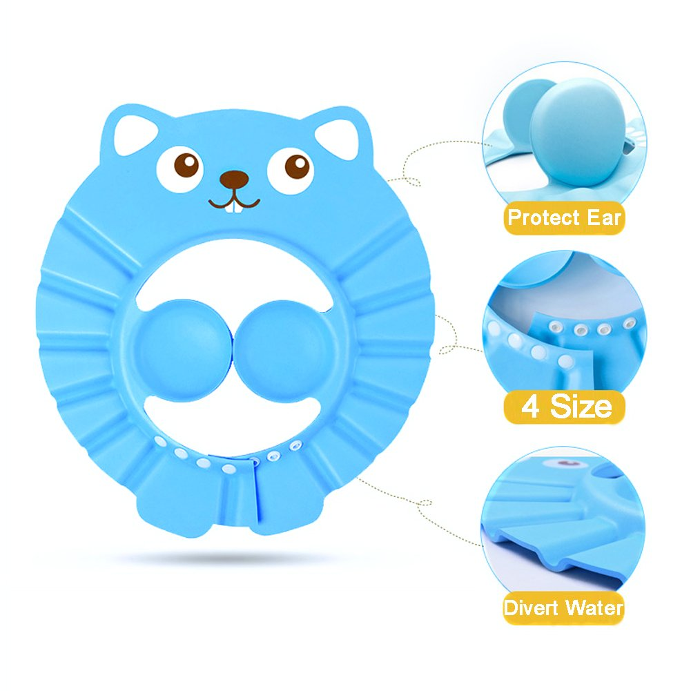 Beauty360 Shampoo Shield Baby Shower Caps for Bath with Ear Protector, 4 Button Adjust Size Freely, Divert Waterflow, EVA Material Environmental-Friendly, Thick & Cute Design Beauty 360