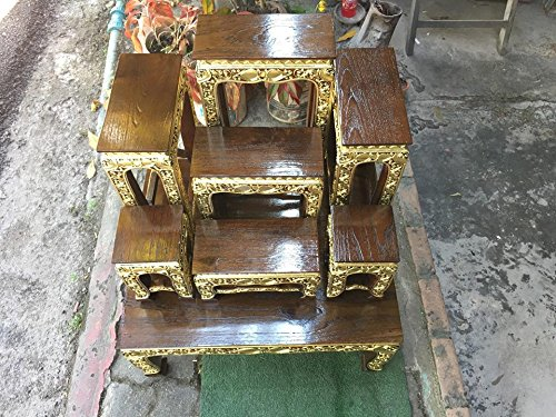 Home Decor, Thai Wood Carving Buddha Table Set Shelf Statue Figurine Stand, Thailand, 60 cm. Long x 50 cm. Width.x 70 cm. High(base table) Oak, Products From Thailand