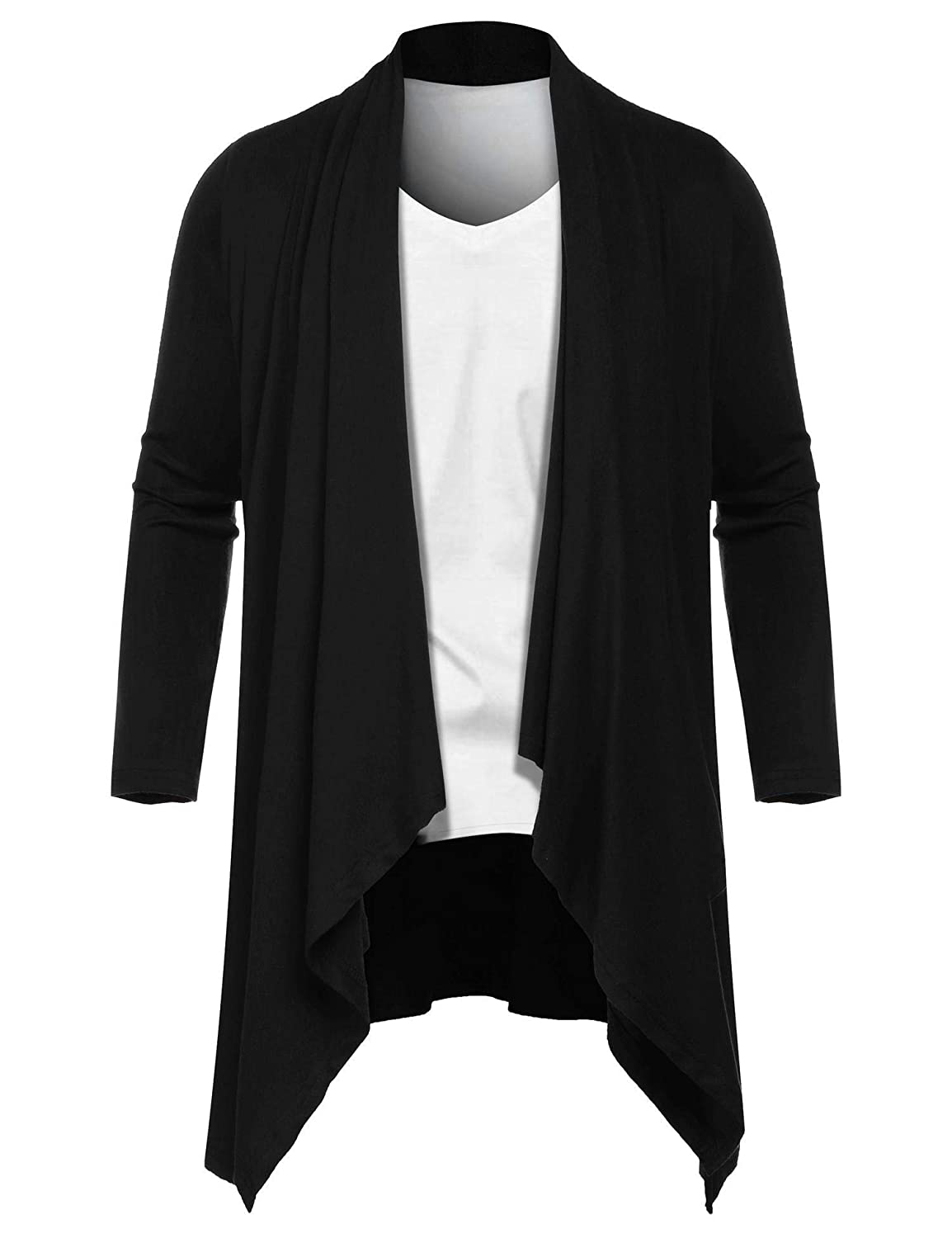 Modfine Mens Cardigan Open Front Ruffle Shawl Collar Fashion Loose Lightweight Drape Cape