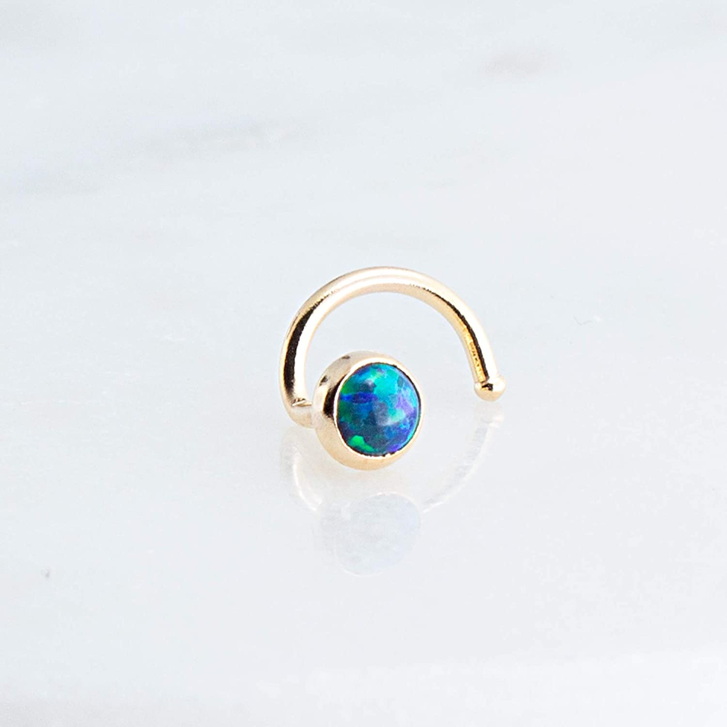 14K Gold Filled and Green Blue Opal Stone Nose Nostril Screw for the Left Side 6145IsNYjtL