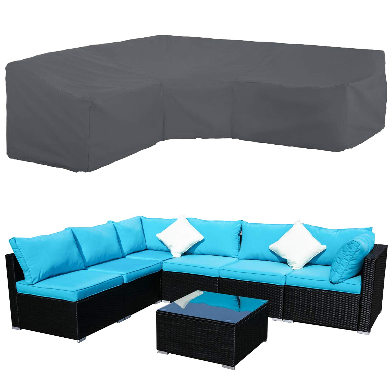 STARTWO Patio V-Shaped Sectional Sofa Cover, Patio Sectional Furniture Cover Waterproof Outdoor Sofa Cover L-Shaped Garden Couch Protector 100'' L (on Each Side) x 33.5'' D x 31'' H by STARTWO