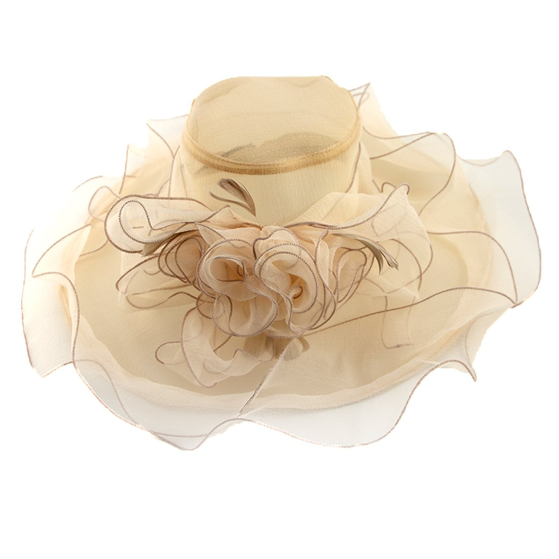 e29629d29506f Women Foldable Organza Church Derby Hat Ruffles Wide Brim Summer Bridal Cap  for Wedding Tea Party Beach (Beige-a) at Amazon Women s Clothing store