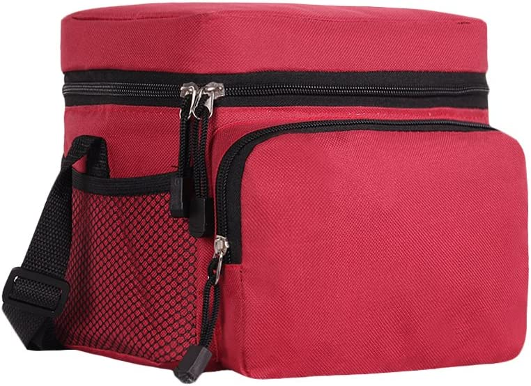 ORICSSON 6 Can Cooler Bag for Lunch Box with Adjustable Strap and 2 Mesh Pockets Black