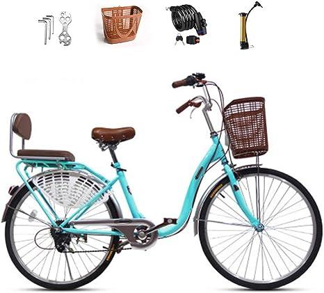 Ti-Fa Bicicleta Cruiser para Mujer, Bicicleta Cruiser de Playa para Adultos, Marcos de Paso de Aluminio Mediano de 24 Pulgadas, transmisiones de 6 velocidades: Amazon.es: Deportes y aire libre
