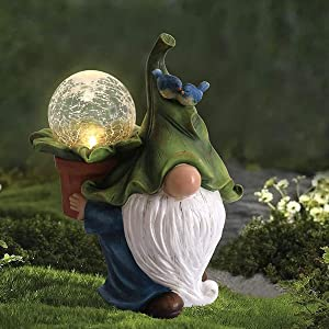 Outdoor Garden Gnome Statue Holding Magic Orb, Resin Gnome Figurine with Solar Led Lights, Outside Decor for Patio Yard Lawn Porch Decorations, Ornament Gifts