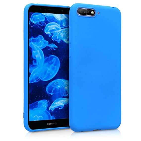 sale retailer c41f5 53f7b kwmobile TPU Silicone Case for Huawei Y6 (2018) - Soft Flexible Shock  Absorbent Protective Phone Cover - Neon Blue