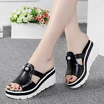 AWXJX Tongs Femme Chaussures été Extérieur Pente Extérieur Fond épais Black 6 US/36 EU/3.5 UK  Bottes Femme  41 EU Ik2vOLJ7t