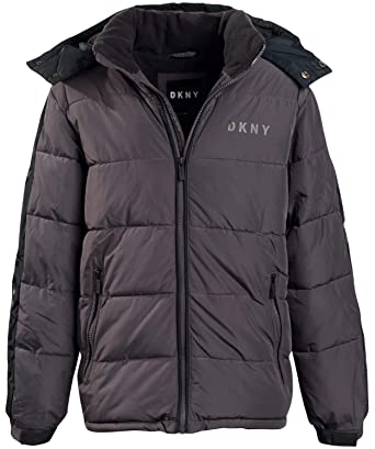 DKNY Boys Heavyweight Polar Fleeced Lined Puffer Bubble Jacket with Hood
