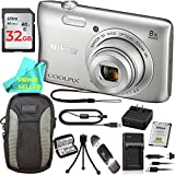 Nikon COOLPIX S3700 Waterproof Digital Camera (Silver) PRO BUNDLE: S3700 Camera, Extra On-The-Go Charger, 32GB Memory Card, Camera Case, Tripod, Memory Card Wallet, Card Reader, Prime Seller Cloth