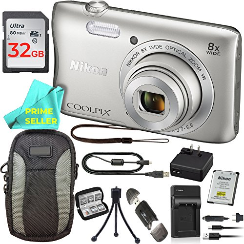 Nikon COOLPIX S3700 Waterproof Digital Camera (Silver) PRO BUNDLE: S3700 Camera, Extra On-The-Go Charger, 32GB Memory Card, Camera Case, Tripod, Memory Card Wallet, Card Reader, Prime Seller Cloth by Prime Seller