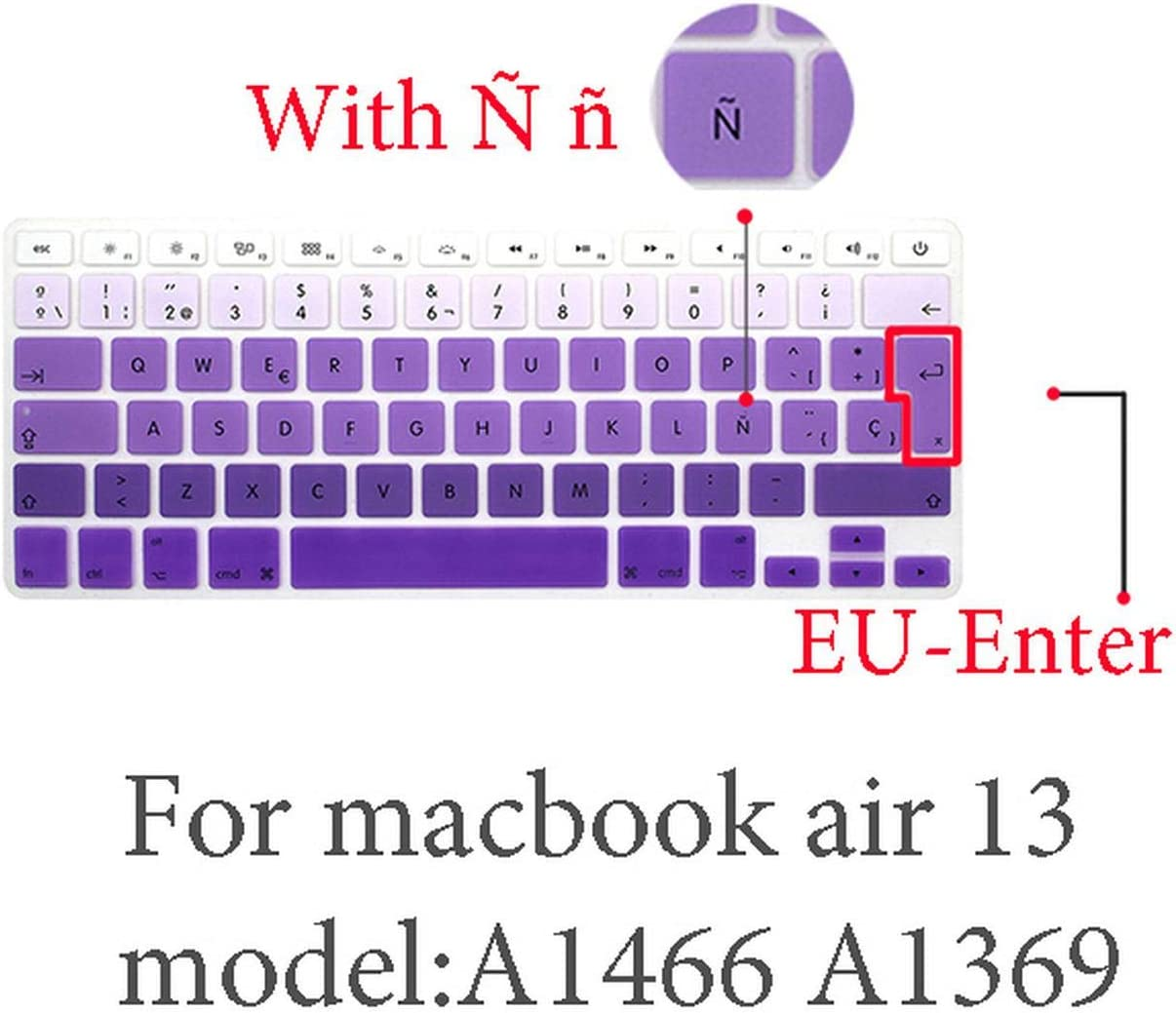 Spanish Keyboard Protective Film for Mac Book pro 13 A2159 pro13 Retina air A1466 A1708A1989A1932 EU Key Silicone Keyboard Cover-pro13 15 touchbar1
