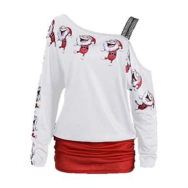 Camiseta de Mujer Invierno Rebajas Navidad, EUZeo, Otoño Fuera del Hombro Sudaderas Mujer Camisas Moda Jersey Casual Básica Pullover Blusas Vintage Deporte ...