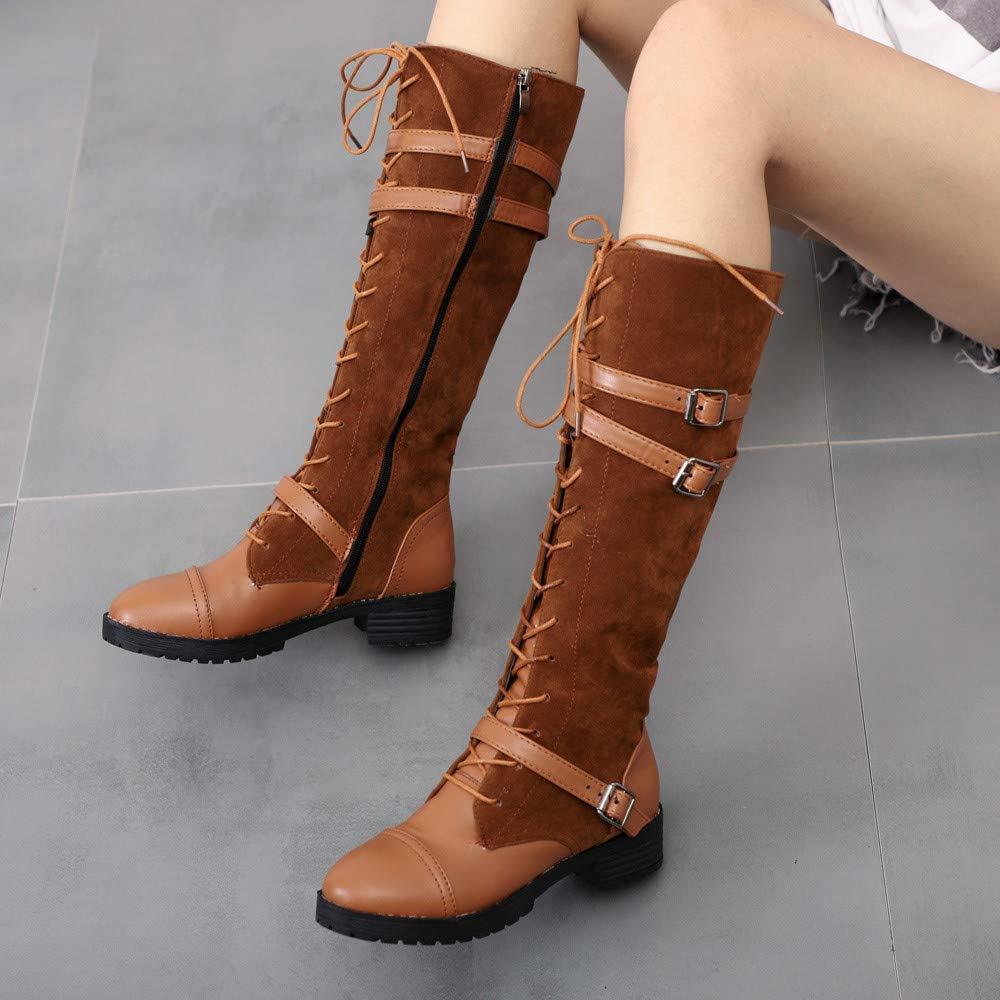 ZHRUI Stiefel Damen Schuhe Schuhe Schuhe Freizeitschuhe Martin Stiefel Frauen Flock Roman Reiten Kniehohe Cowboystiefel Lange Stiefel Damenstiefel Stiefel Elegant Stiefeletten (Farbe   Gelb, Größe   42 EU) 685a56
