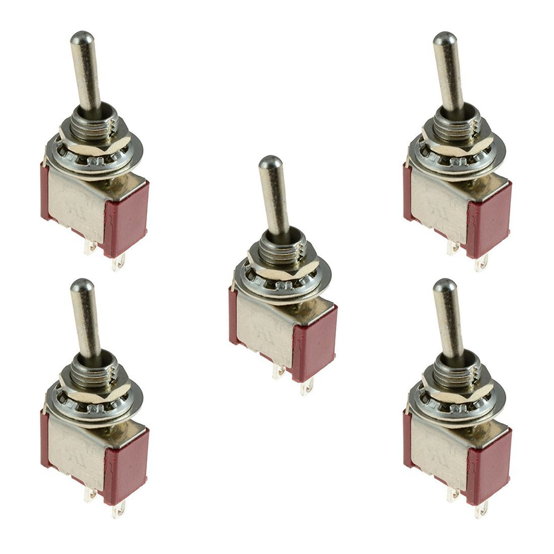 SODIAL(R) 5 x On/Off Small Toggle Switch Miniature SPST 6mm - AC250V 3A 120V 5A