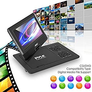 Pyle 9-Inch Portable DVD Player, Portable CD Player, Travel DVD Player, Car DVD Player, Portable Battery, USB/SD, Headphone Jack, Wireless Remote Control, Car Charger, Travel Bag, Black (PDV91BK)